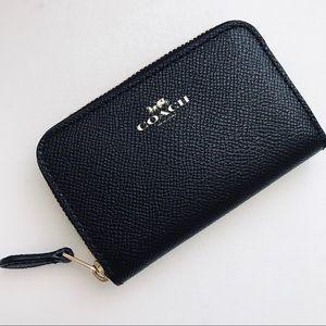 NWT COACH Saffiano Leather Wallet Black Cardholder